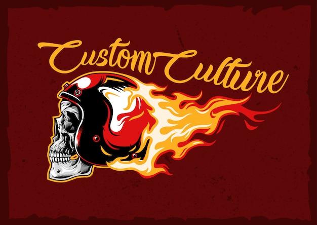 Emblema de capacete de crânio ardente