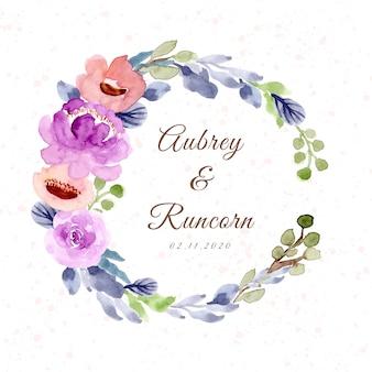 Emblema de casamento com coroa de flores em aquarela