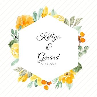 Emblema de casamento com moldura floral aquarela