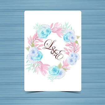 Emblema de casamento floral com lindas rosas azuis
