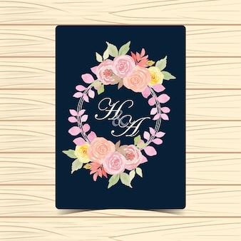 Emblema de casamento floral em aquarela