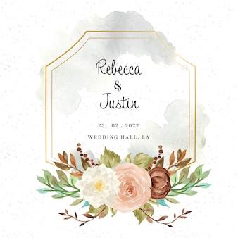 Emblema de casamento floral para convite com flores em aquarela de outono