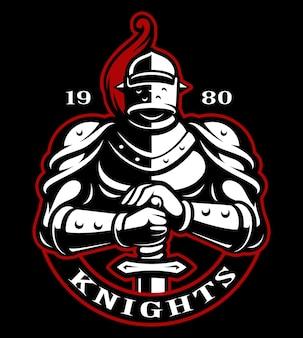 Emblema de cavaleiro com espada em fundo escuro. logo. o texto está na camada separada.