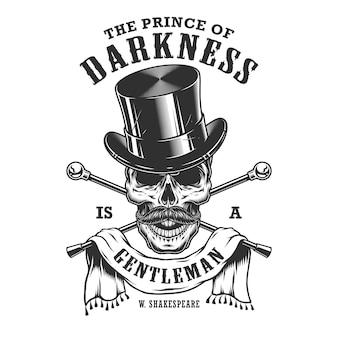 Emblema de cavalheiros com caveira e cartola