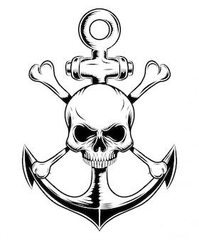 Emblema de caveira com âncora de ilustração