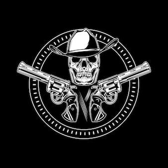 Emblema de caveira de vaqueiro com revólver