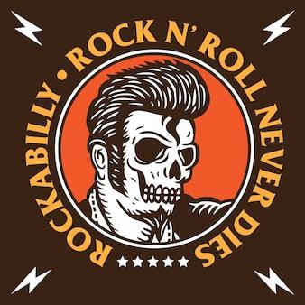 Emblema de caveira rockabilly