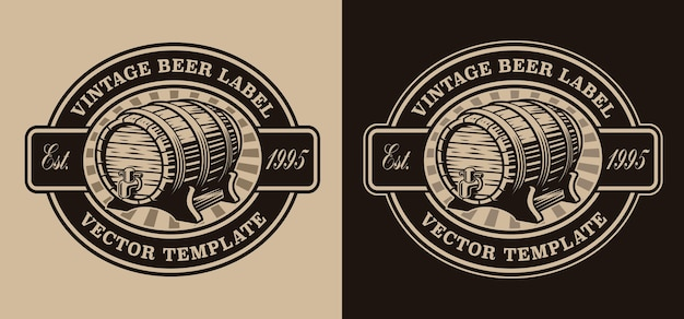 Emblema de cerveja vintage em preto e branco com barril de cerveja
