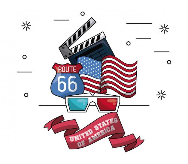 Emblema de cinema dos eua