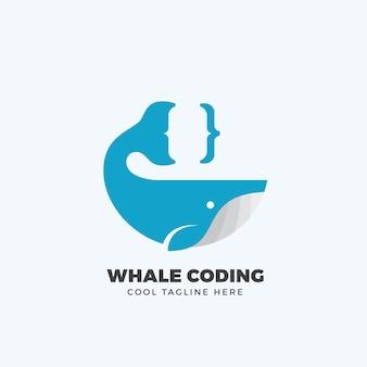Emblema de codificação de baleia, etiqueta, modelo de logotipo.