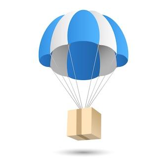 Emblema de conceito de entrega de dom de pára-quedas