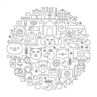 Emblema de conceito de linha de loja de animais