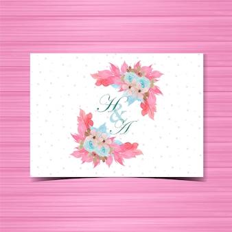 Emblema de convite de casamento floral com lindas rosas azuis pintados à mão