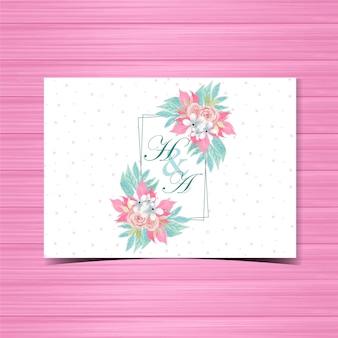 Emblema de convite de casamento floral com lindas rosas cor de rosa