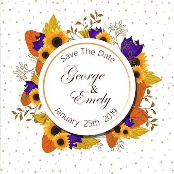 Emblema de convite de casamento floral