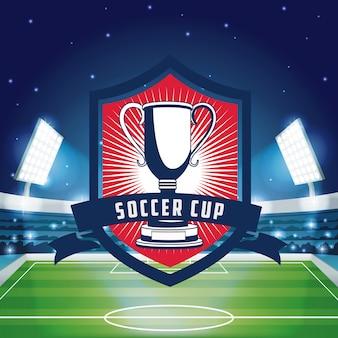 Emblema de Copa de futebol sobre o fundo de cenário do estádio