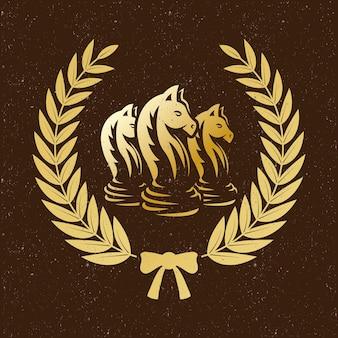 Emblema de coroa de louros xadrez dourada