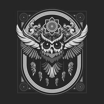 Emblema de coruja com cor prata