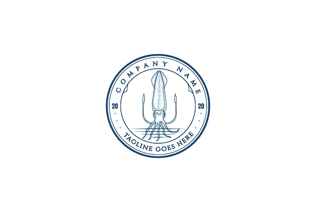 Emblema de crachá de choco de lula retro vintage para restaurante de frutos do mar ou vetor de design de logotipo de rótulo de produto