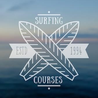 Emblema de cursos de surf, logotipo.