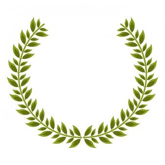 Emblema de decoração de coroa de louro