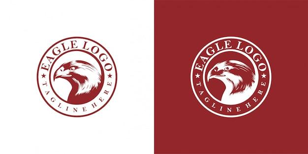 Emblema de design de águia, vintage, carimbo, distintivo, modelo de vetor de logotipo