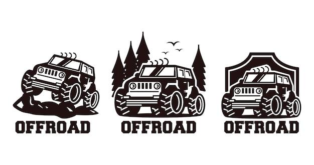 Emblema de design de logotipo off-road de jipe retrô