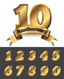 Emblema de dourado decorativo aniversário