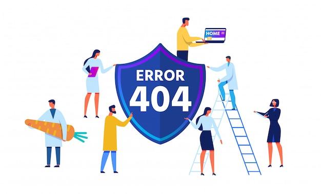 Emblema de erro 404 e personagens de pessoas dos desenhos animados