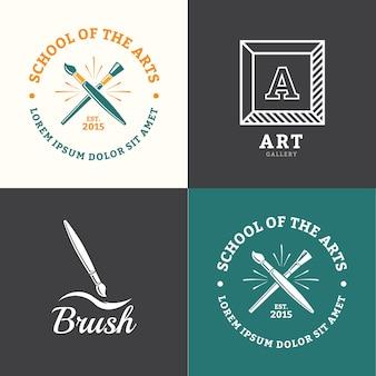Emblema de escova de vetor para desenho de escola ou estúdio de arte