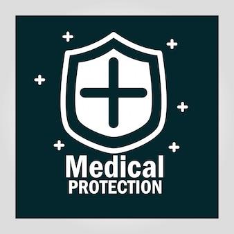 Emblema de escudo de proteção médica,