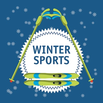 Emblema de esportes de inverno com bastões de esqui e esquis