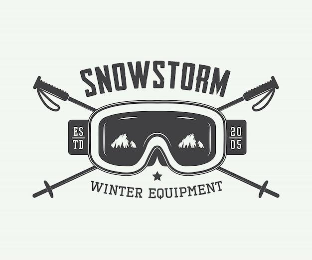 Emblema de esportes de inverno. tempestade de neve