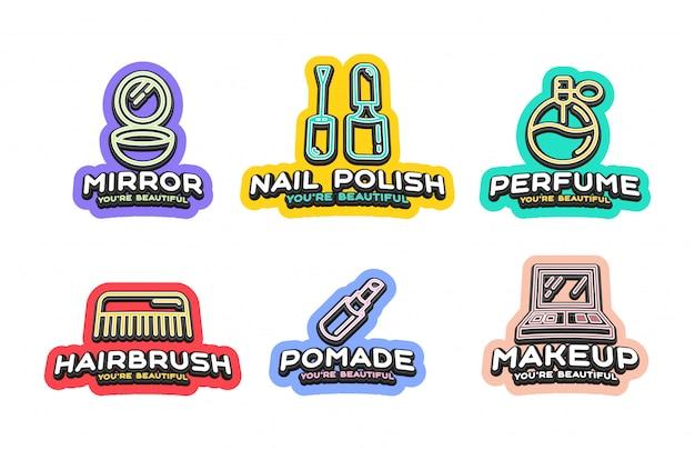 Emblema de estilo tipografia esporte super herói com ícone de cosméticos de beleza.
