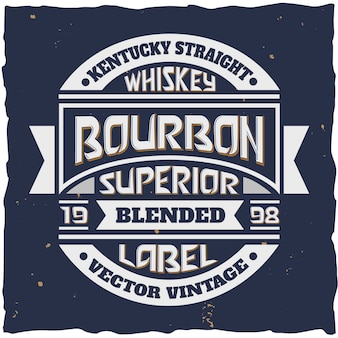 Emblema de estilo vintage para garrafa de uísque bourbon blended superior