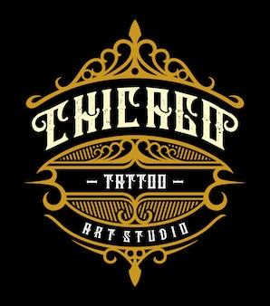 Emblema de estúdio de tatuagem vintage