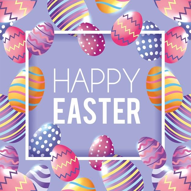 Emblema de feliz páscoa com fundo de decoração de ovos de páscoa