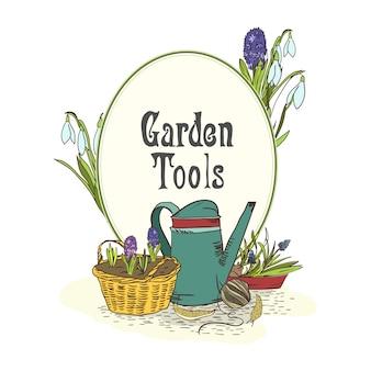 Emblema de ferramentas de jardinagem desenhada de mão