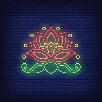 Emblema de flor bonita sinal de néon