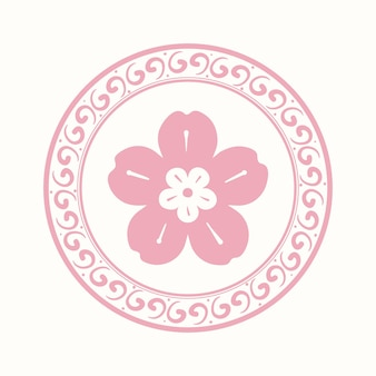Emblema de flor rosa sakura símbolo tradicional chinês