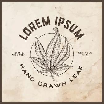 Emblema de folha de cannabis estilo vintage desenhada de mão
