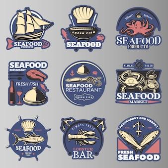 Emblema de frutos do mar em cores com produtos de frutos do mar da mais alta qualidade descrições de restaurantes de frutos do mar peixe fresco lagosta