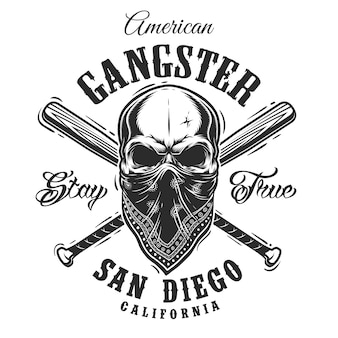 Emblema de gangster com caveira na bandana