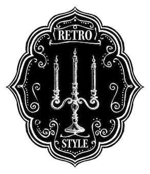 Emblema de giz de rótulo de estilo retro com castiçal