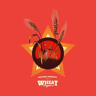 Emblema de grão orgânico de trigo