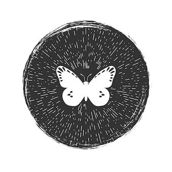 Emblema de hipster grunge borboleta