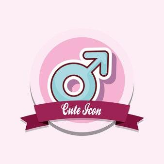 Emblema de ícone bonito com fita decorativa e ícone do símbolo masculino