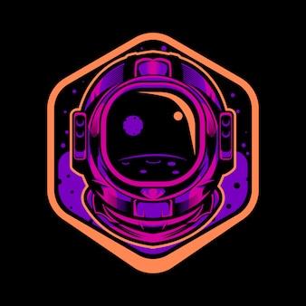 Emblema de ilustração de capacete de astronauta
