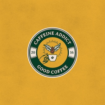 Emblema de ilustração vintage com logotipo de café fermentado manual