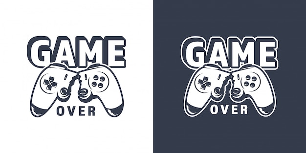Emblema de joystick de videogame quebrado